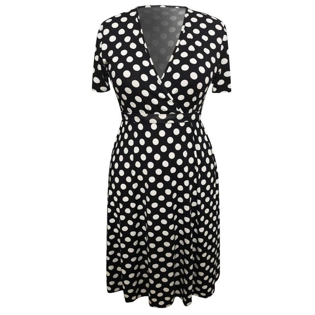Vestidos Women Plus Size Dress Summer Polka Dot Printed Large Size