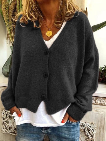 Women Cardigans Sweater V neck Solid Loose Knit Single Breasted