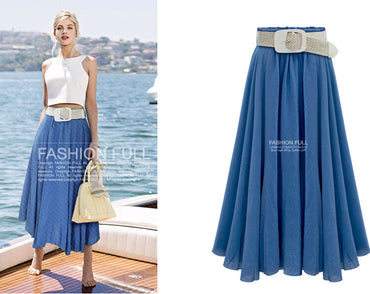 New Arrival Women LYOCELL Long Skirt Pleated A-Line Ladies High Waist