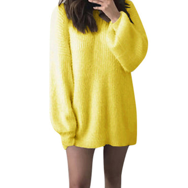Ladies Sweaters New Fashion Women Solid O-Neck