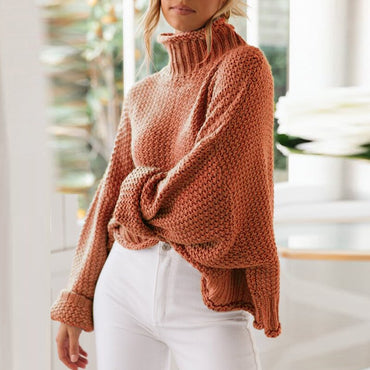 Turtleneck Winter Knitted Sweater Women Pullovers Casual Orange Sweaters