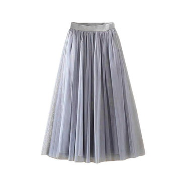 Fashion Womens Pleated Tulle Mesh Elastic High Waist Casual A-Line Long Skirts