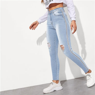 Stripe Side Ripped Skinny Jeans Leisure Stretchy Long Denim Pants