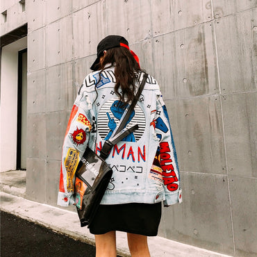 Fashion The New letter printing Loose  Hole Denim jacket