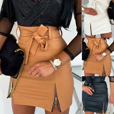 2020 Autumn Spring Women Short Skirt PU Leather Sexy Mini Skirt With Double Zipper