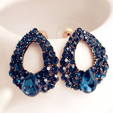 Fashion Brincos Perlas New Girls Earing Bijoux Blue Zircon Stud