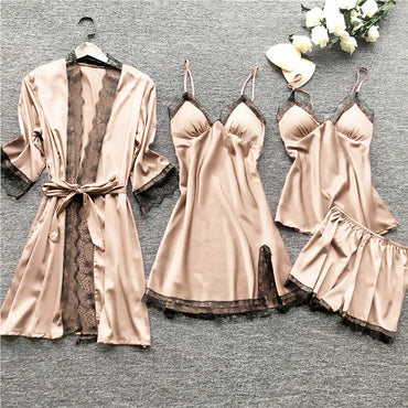 Women Pajamas Sets Satin Sleepwear Silk 4 Pieces Nightwear