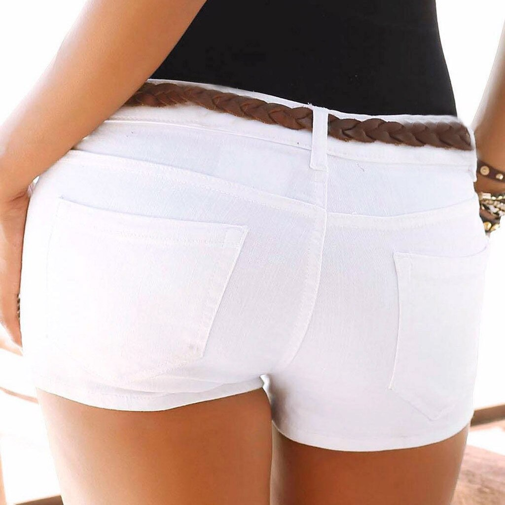 Women Low Waisted Washed Solid Short Mini Jeans Denim Shorts