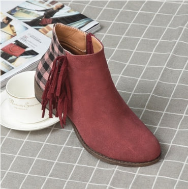 New Women Fringe Western Booties Female Casual Suede Low Heel Round Toe Boots Shoes