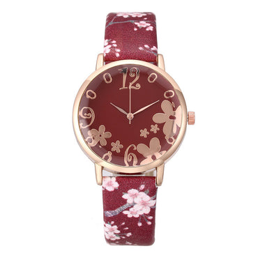 Quartz Watch Women Fashion Embossed Flowers Small Fresh Printed Belt Student