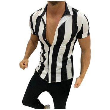 New Men Shirts Fashion Mens Printed Splicing Colorful Stripe Short Sleeve