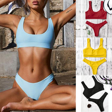New Arrival Fashion Women Sexy Pure Color Push-Up Padded Sexy Swimsuit Beachwear