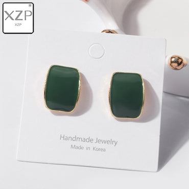 New Simple Vintage Enamel Geometric Stud Earrings For Women