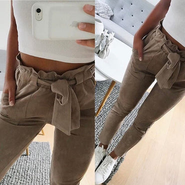 New 2020 Summer suede pants women streetwear casual bottoms