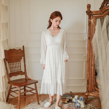 Soft Modal 2 Pieces Women's Robe Sets Spring Autumn Vintage Princess Gauze Long Sleepwear