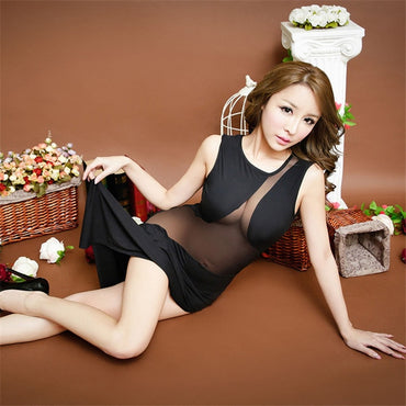 Women Black Long Dress Robe Nightwear  Sleepwear