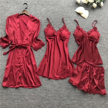 Women Pajamas Sets Ladies Sexy Satin Lace Sleepwear 4 Pieces
