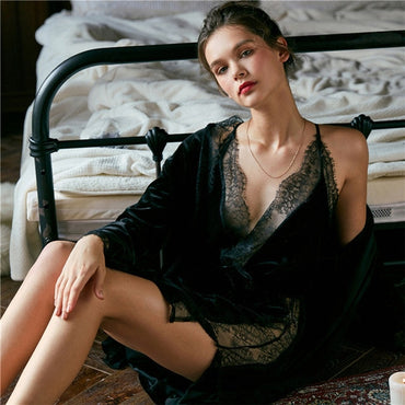 Winter Pajamas Set Velvet Robe Gown Set Women Sleepwear