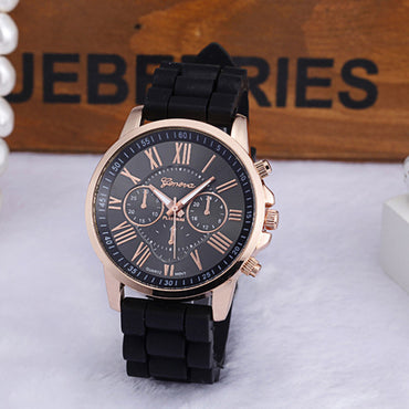 Fashion Women Geneva Watch Silicone Rubber Casual Quartz watches Analog Sports