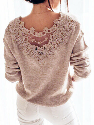 Autumn Womens Clothes Sexy Elegant Lace Stitching Backless Pullover Woman Sweater
