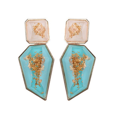 New Fashion Earing Ohrringe Gold Color Resin Irregular Drop