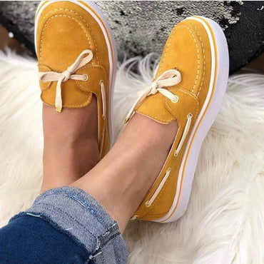 Casual Flat Plus Size Women Sneakers Ladies Suede Bow Tie Slip On Shallow Comfort