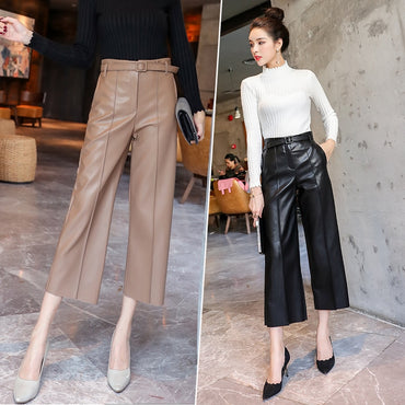 Brand New Women PU Leather Pants Belted High Waist Faux Leather