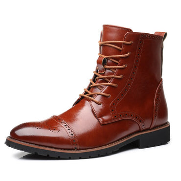 Autumn NEW Men Boots Big Size 38-48 Vintage Brogue College Style