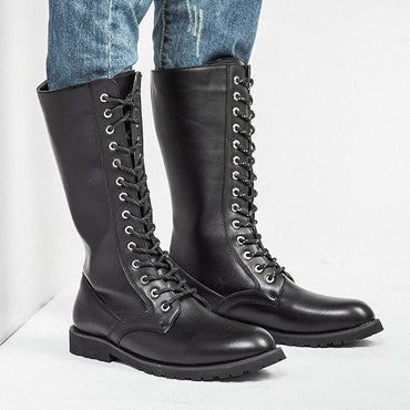 Knee High Boots Mens Military Boots Leather