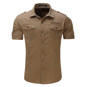 Men's Shirt New Men Cargo Shirt Fashion Casual