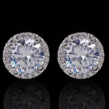 Women Girl White Rhinestone Crystal Round Metal Zircon Ear Stud Earrings