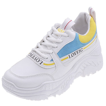 New White Women Sneakers Fashion Thick Bottom