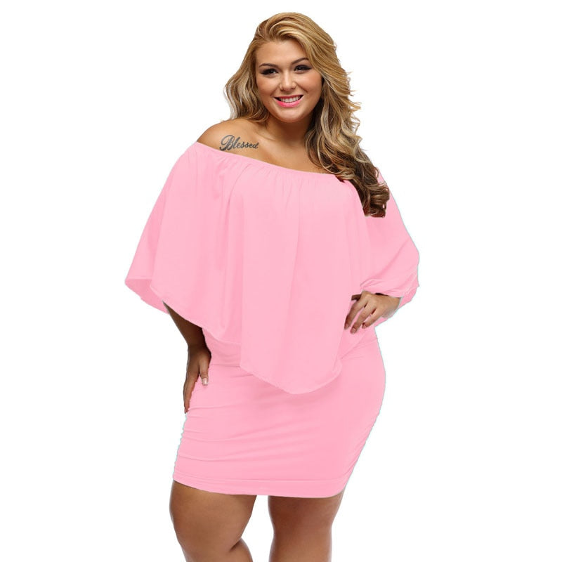 2020 Women Plus Size Dress Red Off Shoulder Femme Sexy