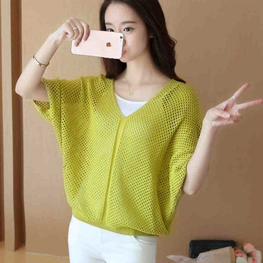 2020 autumn spring sweater women pullovers solid jumper batwing sleeve v neck