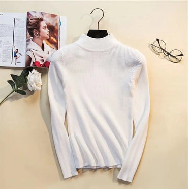 Autumn Winter Women Pullovers Sweater Knitted Elasticity Casual Jumper