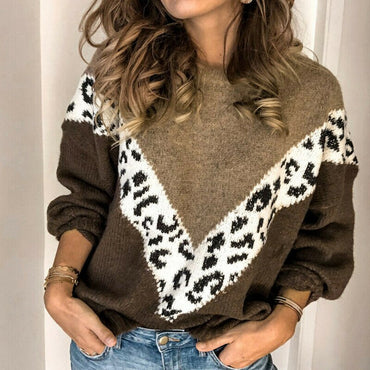 Women's Sweaters Winter Warm Leopard Patchwork O-neck