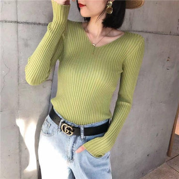 Women Sweaters 2020 Spring Knitted V Neck Casual Soft Jumper