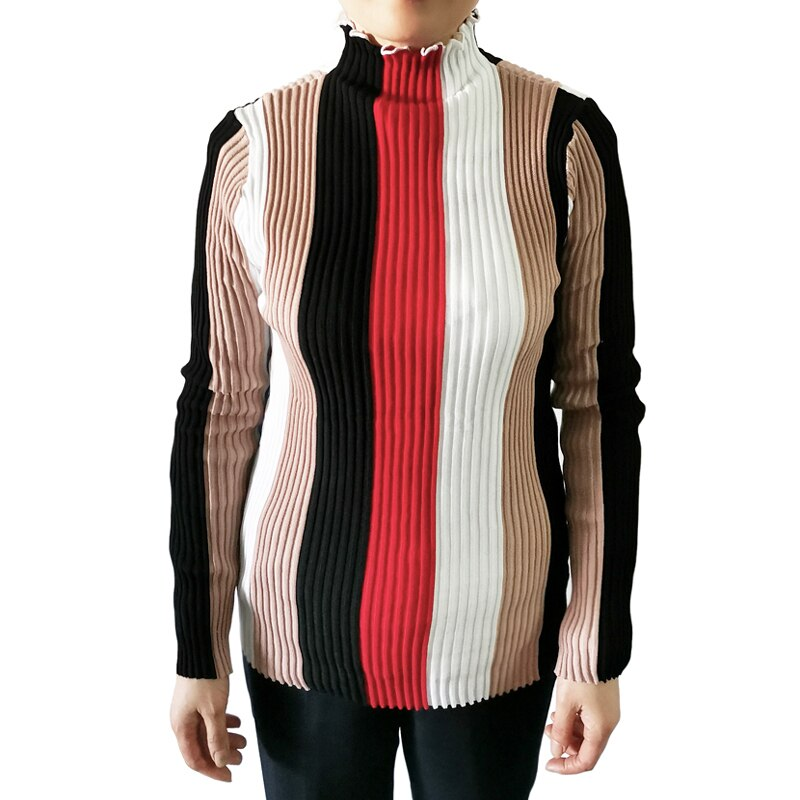 Casual Striped Women Sweater Bodycon Long Sleeve Turtle Neck