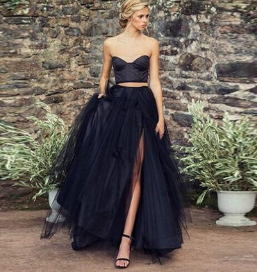Magical Black Long Tulle Skirt Chic Side Split Puff Tulle Maxi Tutu Skirts Womens