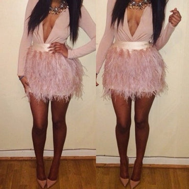 Ostrich Feather Skirts Women Zipper Style Pale Pink Skirt