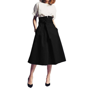 High Waist A-Line Formal Party Skirts With Sashes Custom Made Mid-Calf Women's Skirt Fashion