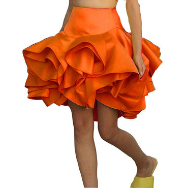 Cute Skirts Women Jupe Orange Skirt Girls Short