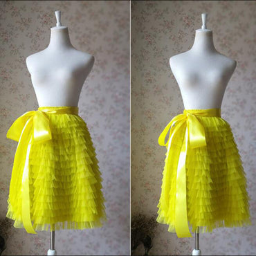 Neon Yellow Skirt Bright Yellow Midi Length With Bow Sash faldas
