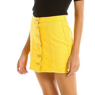 Yellow Midi Denim Skirt 2020
