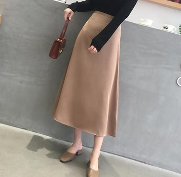 2020 Satin Skirt Women High Waist Midi Skirt