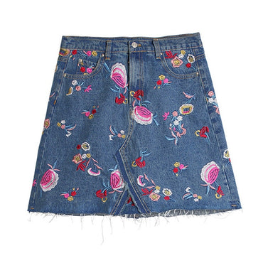 Women Denim Skirt Hight Waist A-line ladies summer vintage