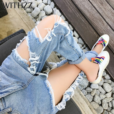 New Arrival 5XL Ripped Jeans Women's Loose Thin