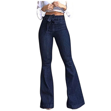 Women Hight Waisted Wide Leg Denim Jeans Stretch Slim Pants