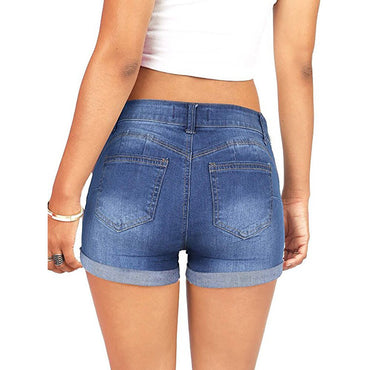 Women Low Waisted Washed Ripped Hole Short Mini Jeans Denim Shorts