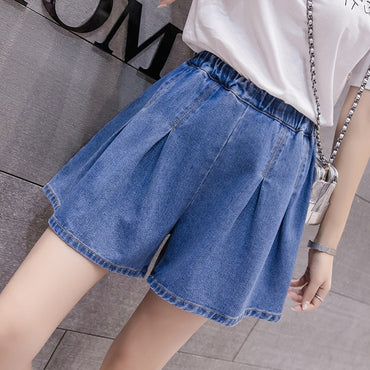 Women's Denim Shorts  High Waist Blue Wide Leg